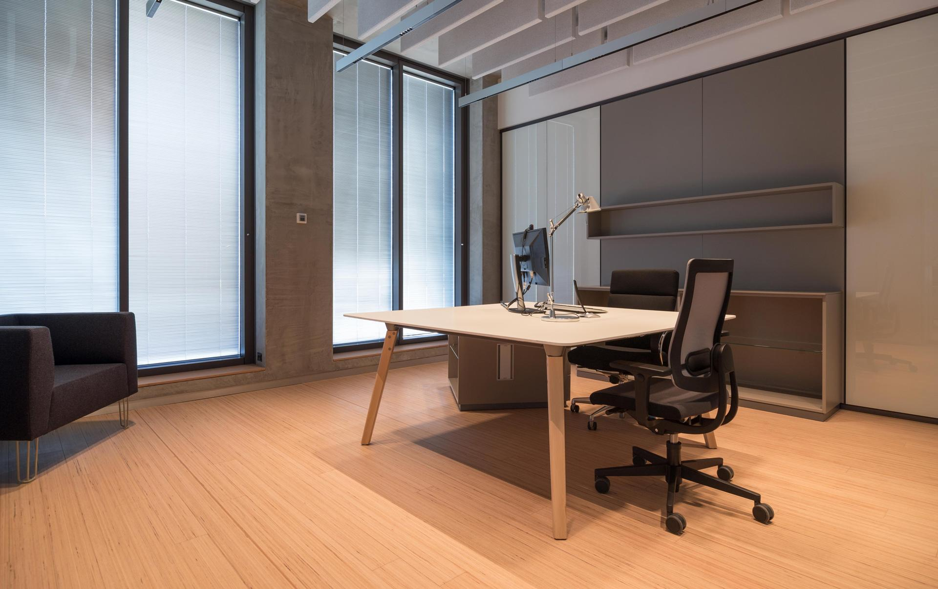 Dinamico executive desk with wooden legs