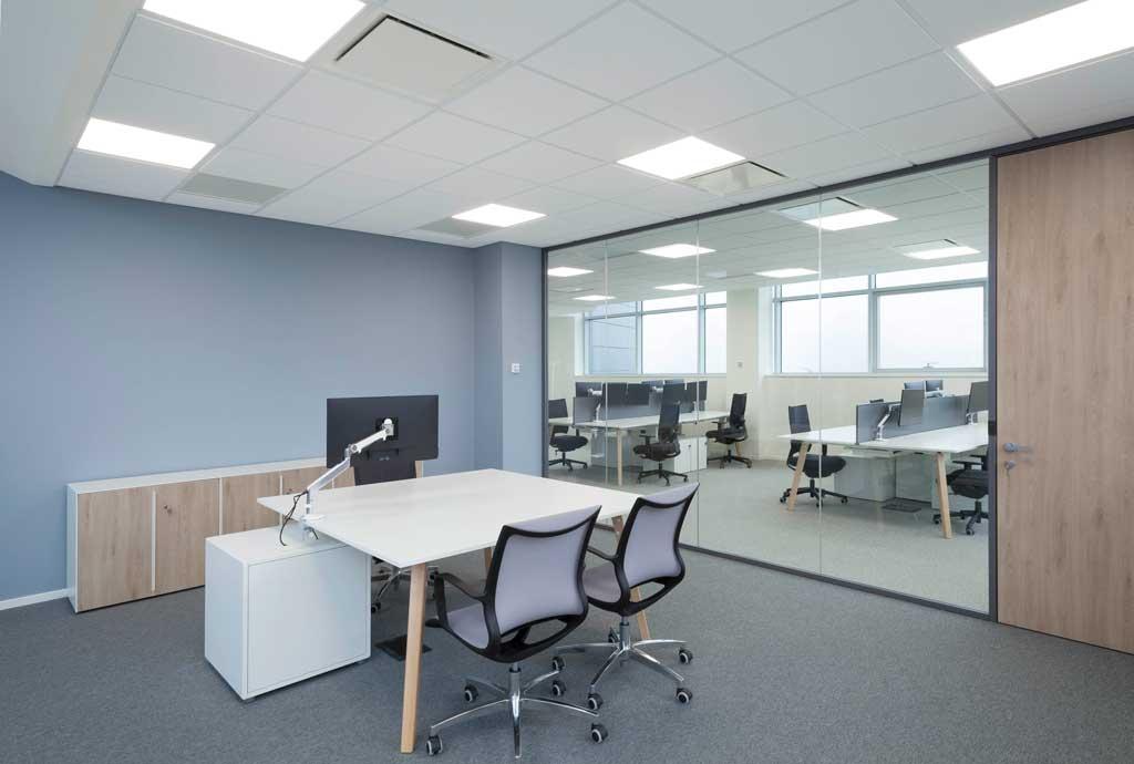 workspace realized trough P600s double-glazed partition walls